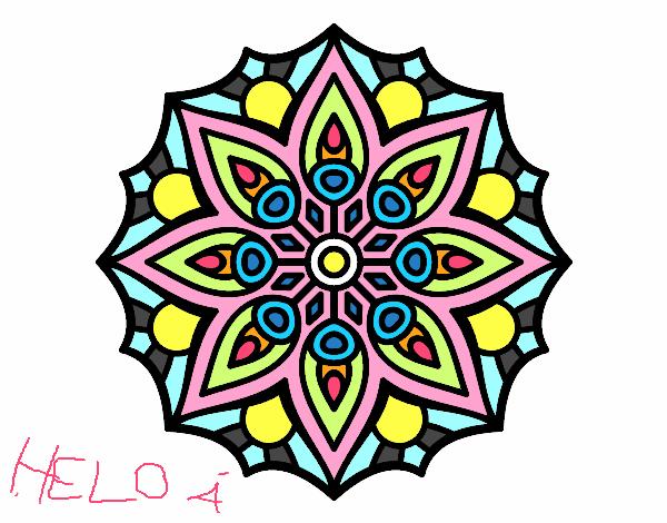 Desenho De Mandala Simetria Simples Pintado E Colorido Por Rosansa