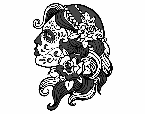 Desenho De Tatuagem De Catrina Pintado E Colorido Por Usuario Nao