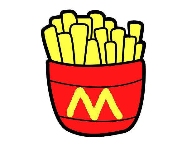 Desenho De Batata Frita Do Mcdonalds Pintado E Colorido Por