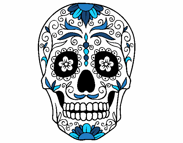 Desenho De Caveira Mexicana Pintado E Colorido Por Usuario Nao
