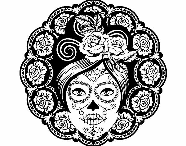 Desenho De Caveira Mexicana Feminina Pintado E Colorido Por