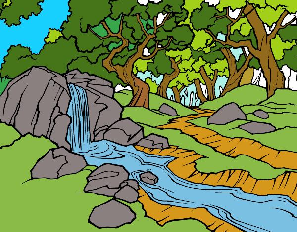 Desenho De Paisagem Da Floresta Com Um Rio Pintado E Colorido Por