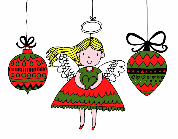 Desenho De Anjo E Enfeites De Natal Pintado E Colorido Por Usuario