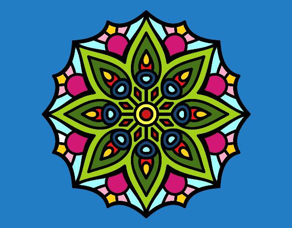Desenho De Mandala Simetria Simples Pintado E Colorido Por