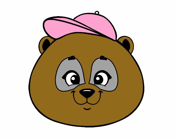 Desenho De Cara De Urso Panda Com Gorro Pintado E Colorido Por