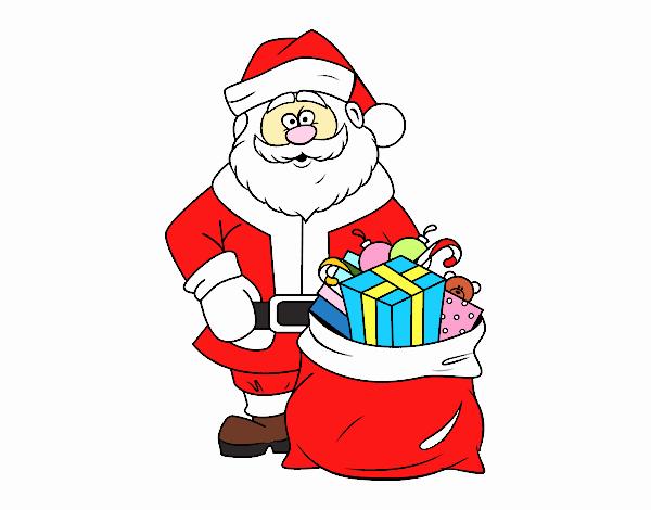 Desenho De Papai Noel Com Um Saco Dos Presentes Pintado E Colorido