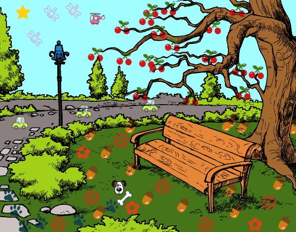 Desenho De Paisagem Da Parque Pintado E Colorido Por Dalvamgcs O