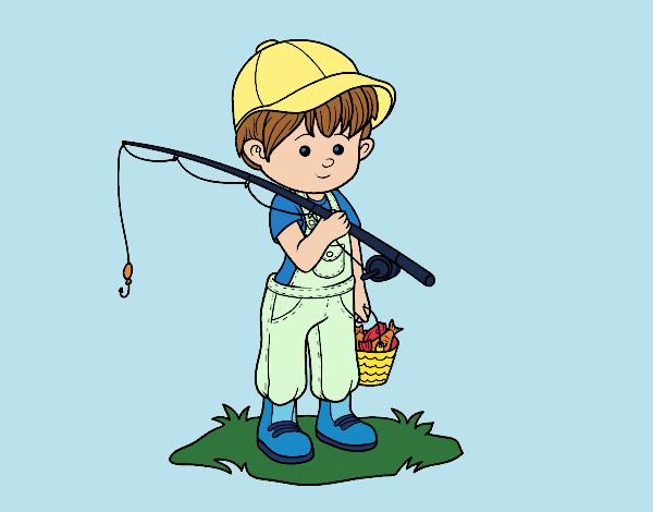Desenho De Crianca Pescador Pintado E Colorido Por Vanalb O Dia 16
