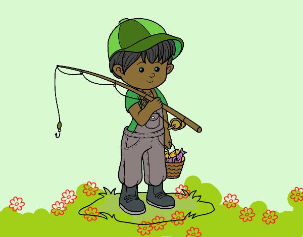 Desenho De Crianca Pescador Pintado E Colorido Por Ceciliaz O Dia