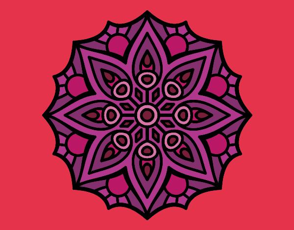 Desenho De Mandala Simetria Simples Pintado E Colorido Por Lauuu O