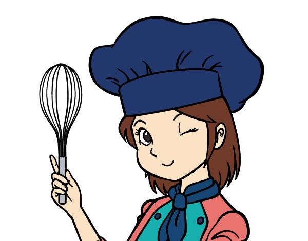 Desenho De Cozinheira Pintado E Colorido Por Usuario Nao