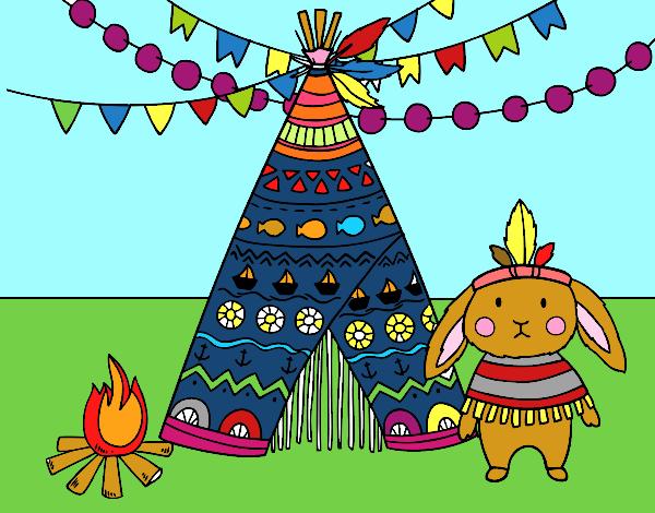 Desenho De Dia Do Indio Pintado E Colorido Por Usuario Nao