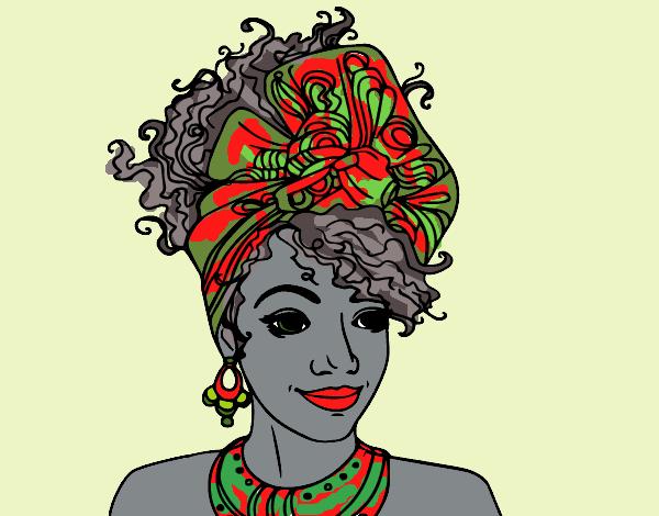 Desenho De Mulher Africana Pintado E Colorido Por Ceciliaz O Dia