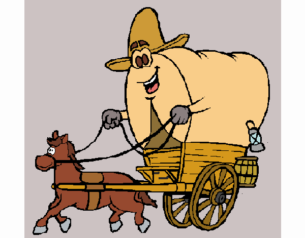 Desenho De Carroca Vaqueiro Pintado E Colorido Por Craudia O Dia