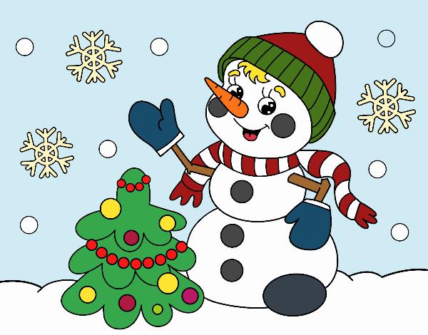 Desenho De Boneco De Neve Do Cartao De Natal Pintado E Colorido