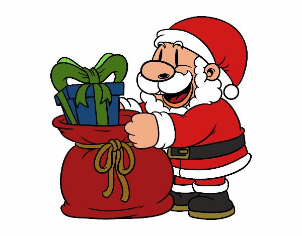 Desenho De Papai Noel Que Da Presentes Pintado E Colorido Por