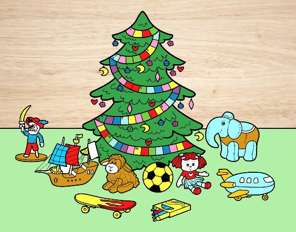 Desenho De Arvore De Natal E Brinquedos Pintado E Colorido Por