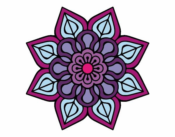 Desenho De Mandala De Flor Simples Pintado E Colorido Por Usuario