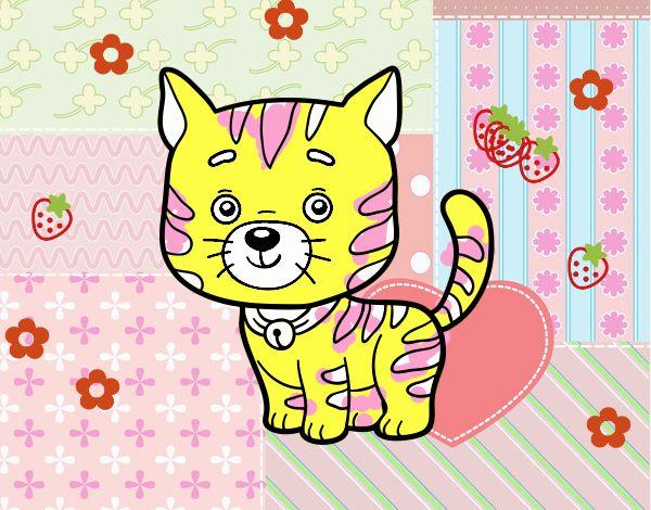 Desenho De Um Gato Domestico Pintado E Colorido Por Usuario Nao