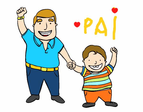 Desenho De Papai E Filho Pintado E Colorido Por Usuario Nao