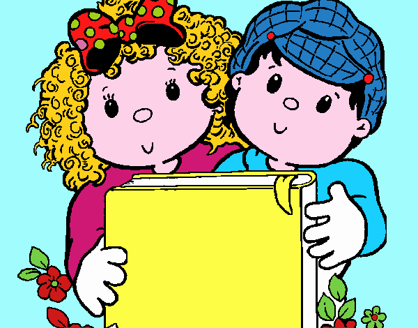 Desenho De Criancas Com Um Livro Pintado E Colorido Por Usuario