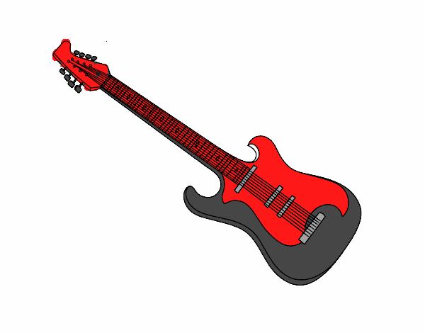 Desenho De Uma Guitarra Eletrica Pintado E Colorido Por Usuario