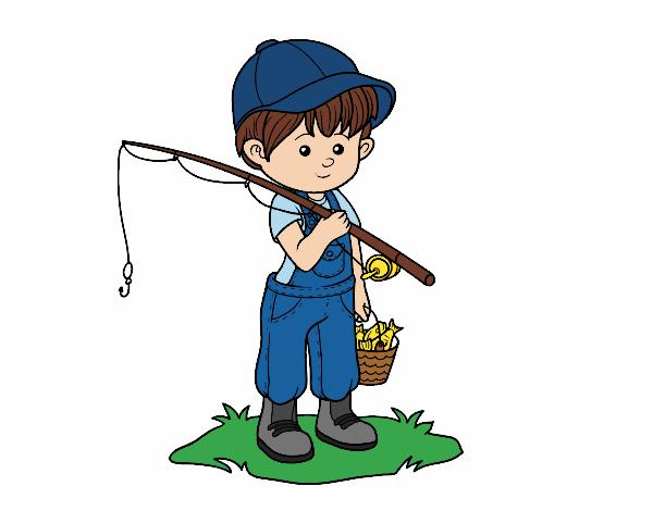 Desenho De Crianca Pescador Pintado E Colorido Por Usuario Nao