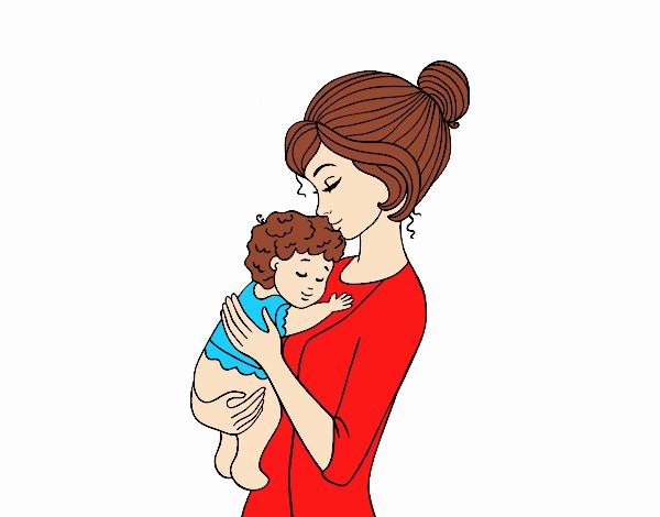 Desenho De Mae Levando O Bebe Pintado E Colorido Por Usuario Nao