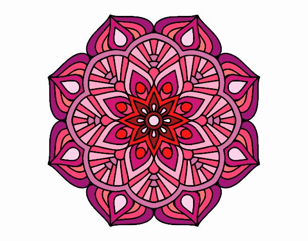 Desenho De Uma Mandala De Flor Oriental Pintado E Colorido Por