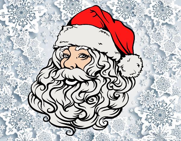 Desenho De Rosto De Papai Noel Para O Natal Pintado E Colorido Por