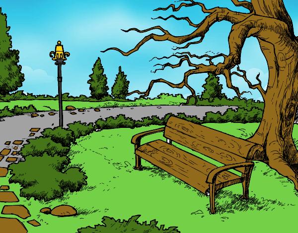 Desenho De Paisagem Da Parque Pintado E Colorido Por Usuario Nao