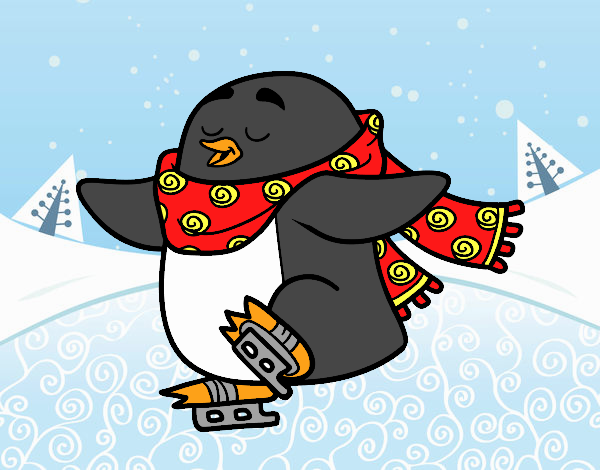 Pinguim de patinagem no gelo