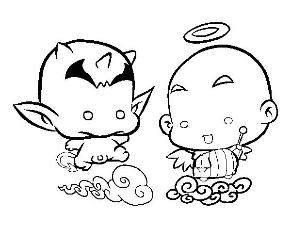 Desenho de Anjo ou demônio para Colorir - Colorir.com