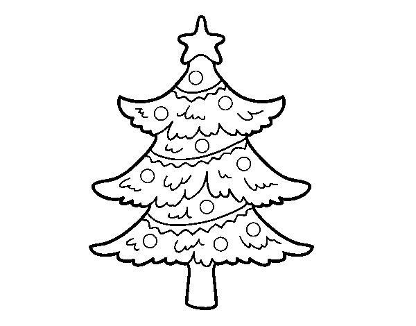 Desenho De Árvore De Natal Decorada Para Colorir