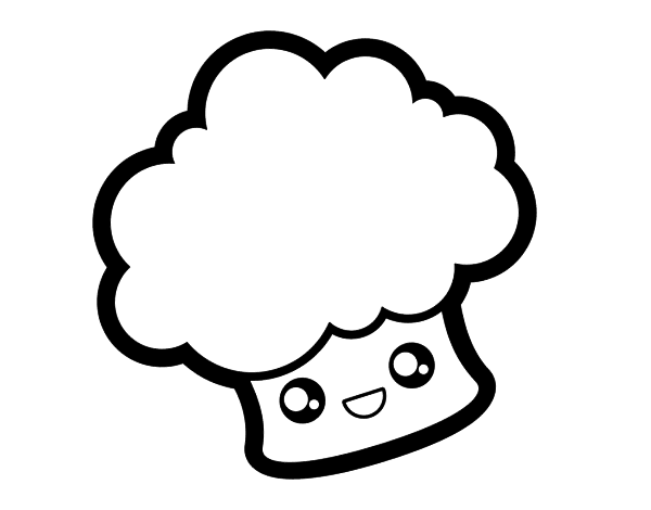 desenho de brócolis sorridente para colorir colorir com