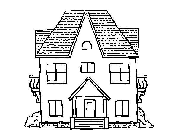 Desenho De Casas Simples Para Colorir: Desenho De Casa Com Varandas Para Colorir