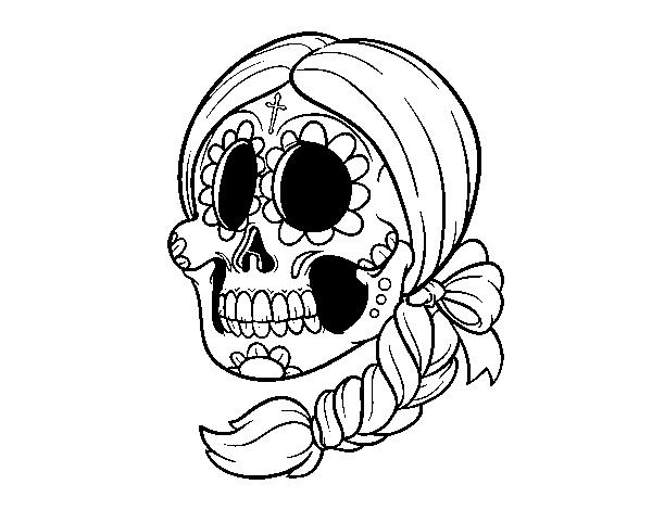 Desenho De Caveira Mexicana Com Tranca Para Colorir Colorir Com