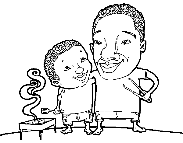 Desenho De Churrasco Com Pai Para Colorir