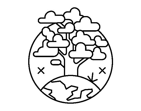 Desenho De Círculo árvore Para Colorir