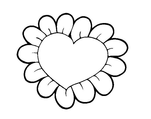 desenho de coração flor para colorir colorir com