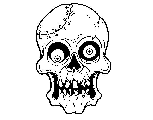 Desenho De Crânio Costurado Para Colorir