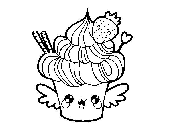 Desenhos Kawaii Para Colorir: Desenho De Cupcake Kawaii Com Morango Para Colorir
