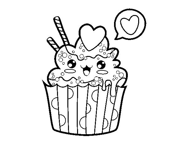desenho de cupcake kawaii para colorir colorir com