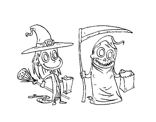 Desenho de Doce ou travessura do Halloween para Colorir - Colorir.com