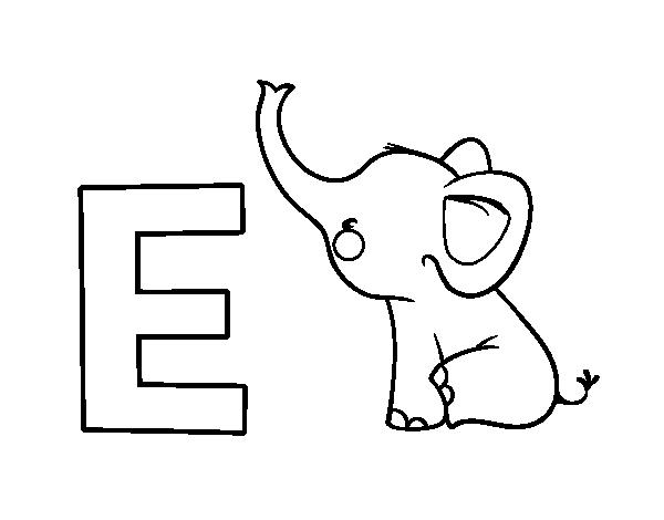 Desenho De E De Elefante Para Colorir Colorir Com
