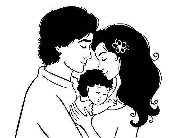 Desenho De Família Abraço Para Colorir