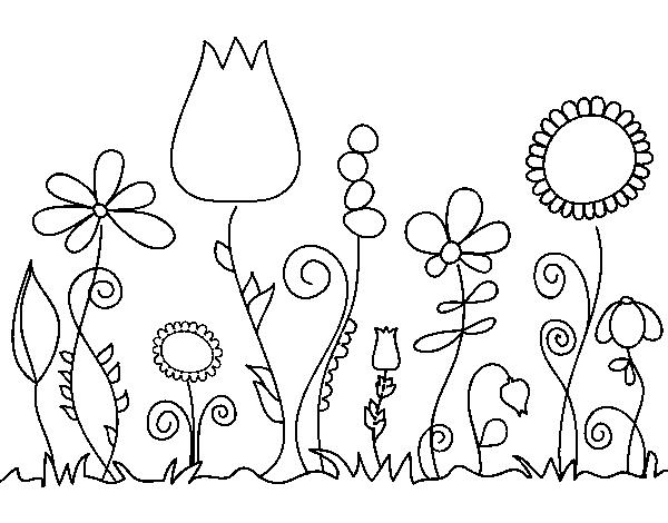 desenho de flores da floresta para colorir colorir com