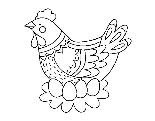 desenho de galinha com ovos de páscoa para colorir colorir com