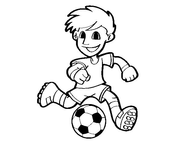 Desenho De Jogador De Futebol Com Bola Para Colorir