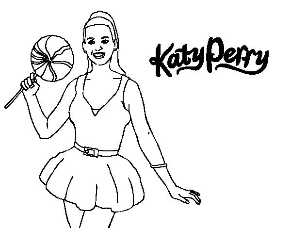 Desenho De Katy Perry Com Um Pirulito Para Colorir Colorir Com